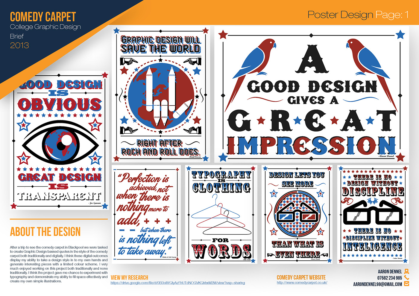 blue red black design comedy  carpet Blackpool poster typography   old school