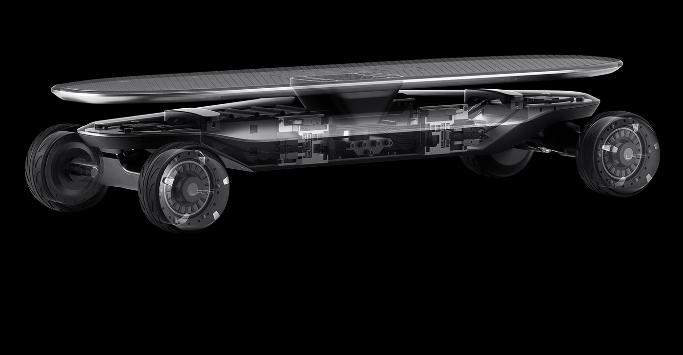 The structure of PLMM Electric Skateboard designed by VLND Industrial Design Studio.