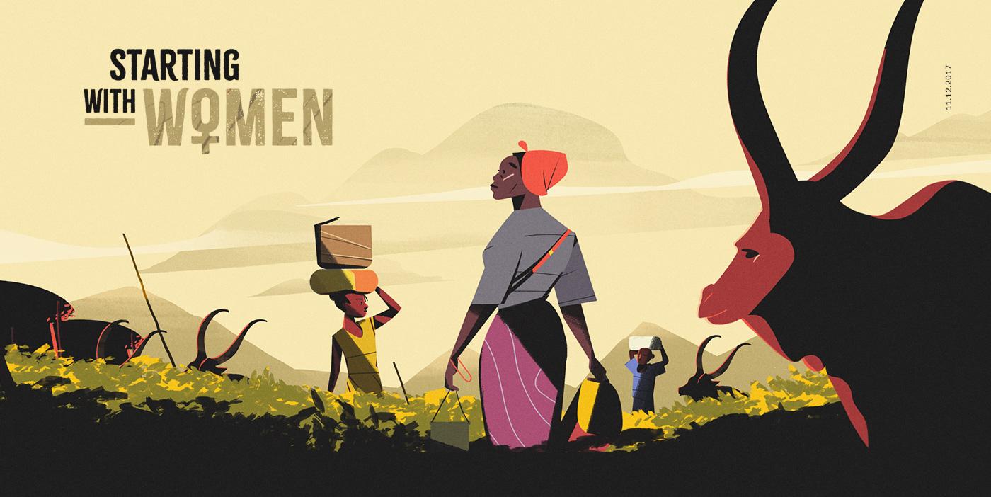 animation  ILLUSTRATION  africa Uganda photoshop women flat explainer promo MoGraph