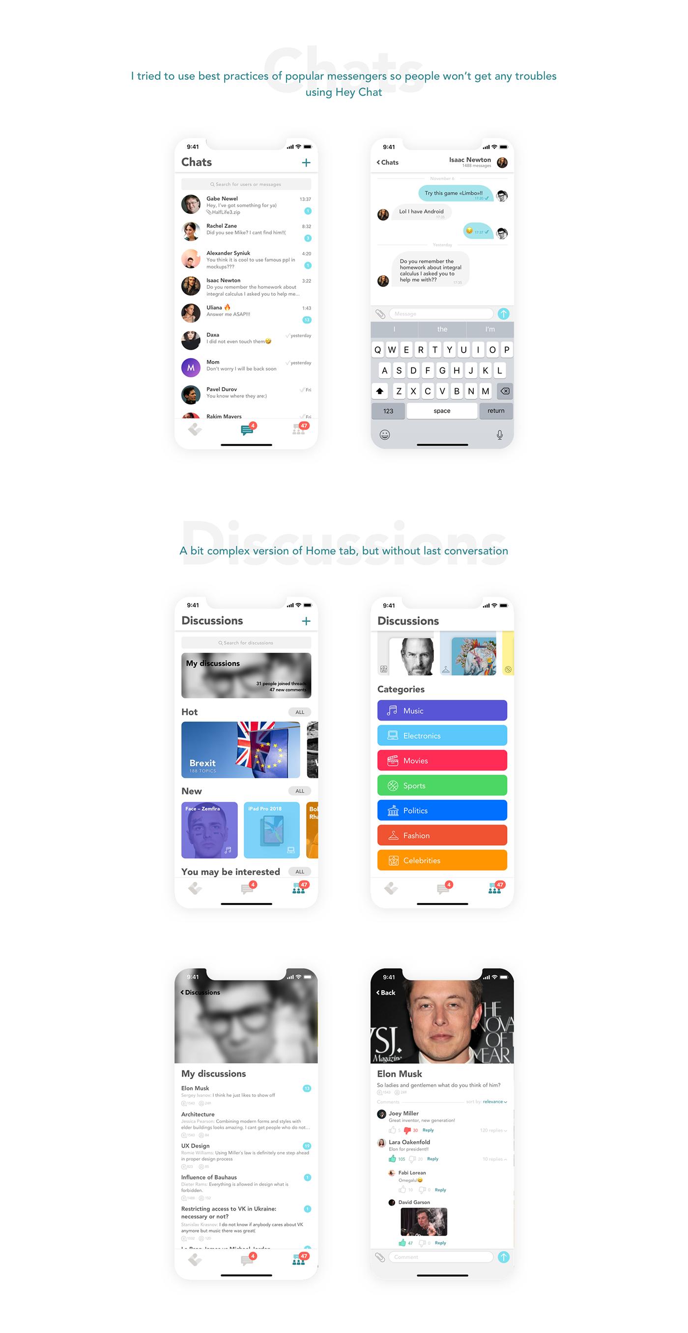 messenger ux UI ux/ui UI/UX Application Design interaction principle Prototyping