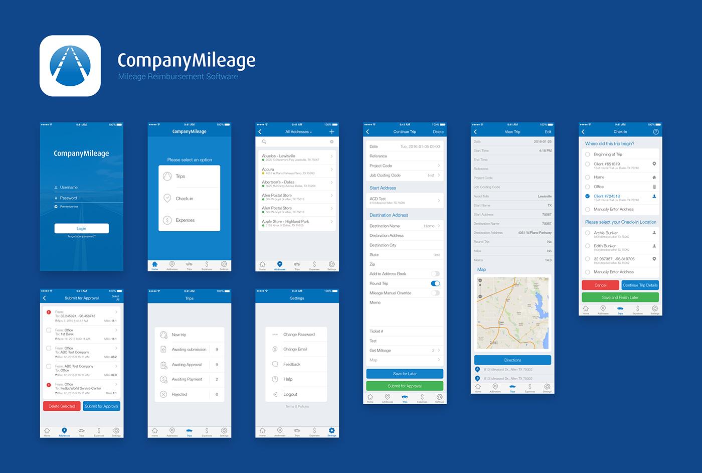 mobile ios app clean UI ux design flat apple iphone minimal blue