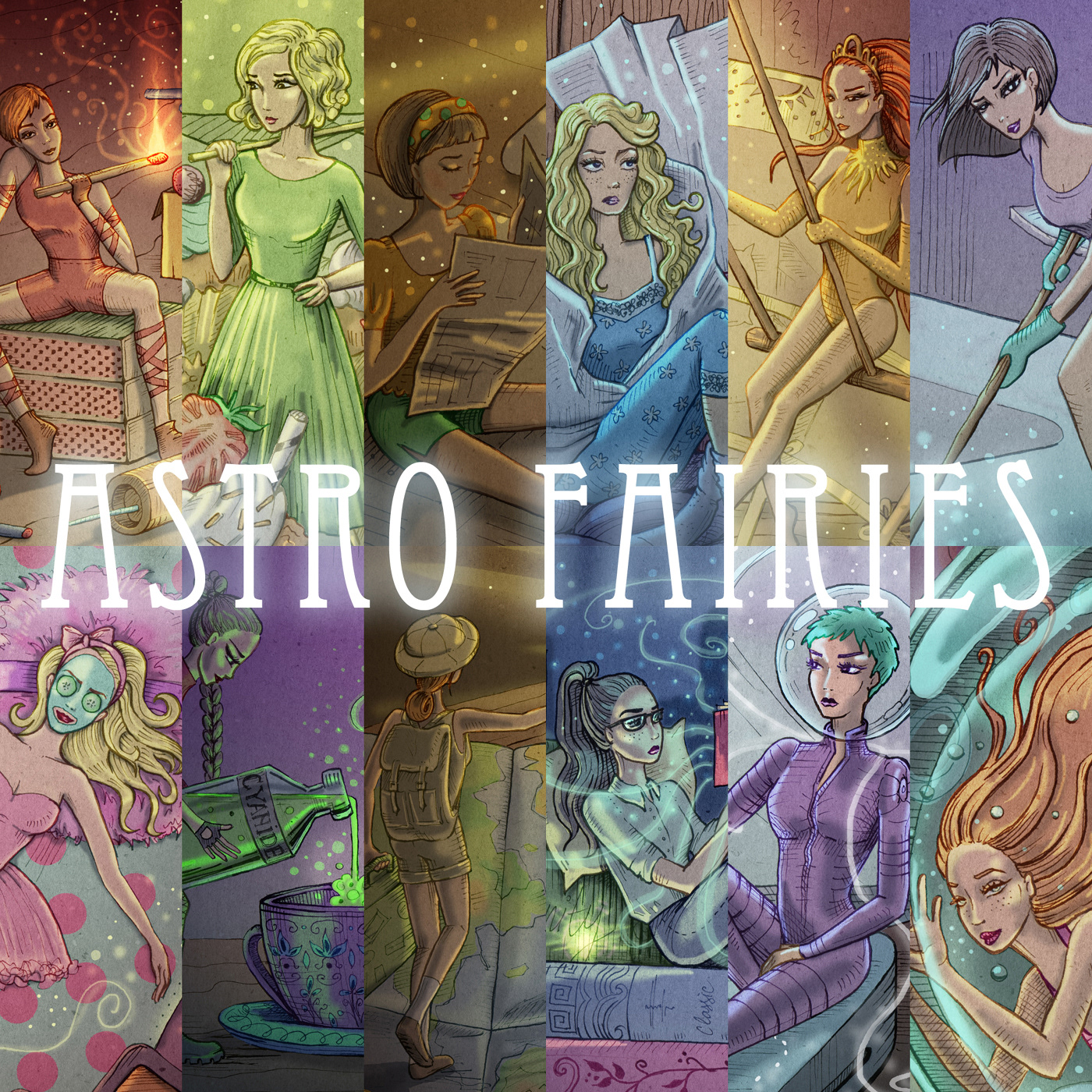 Astrology astrosymbolic digitally colored fairy hand drawn Horoscope ILLUSTRATION  tiny girls zodiac zodiac signs