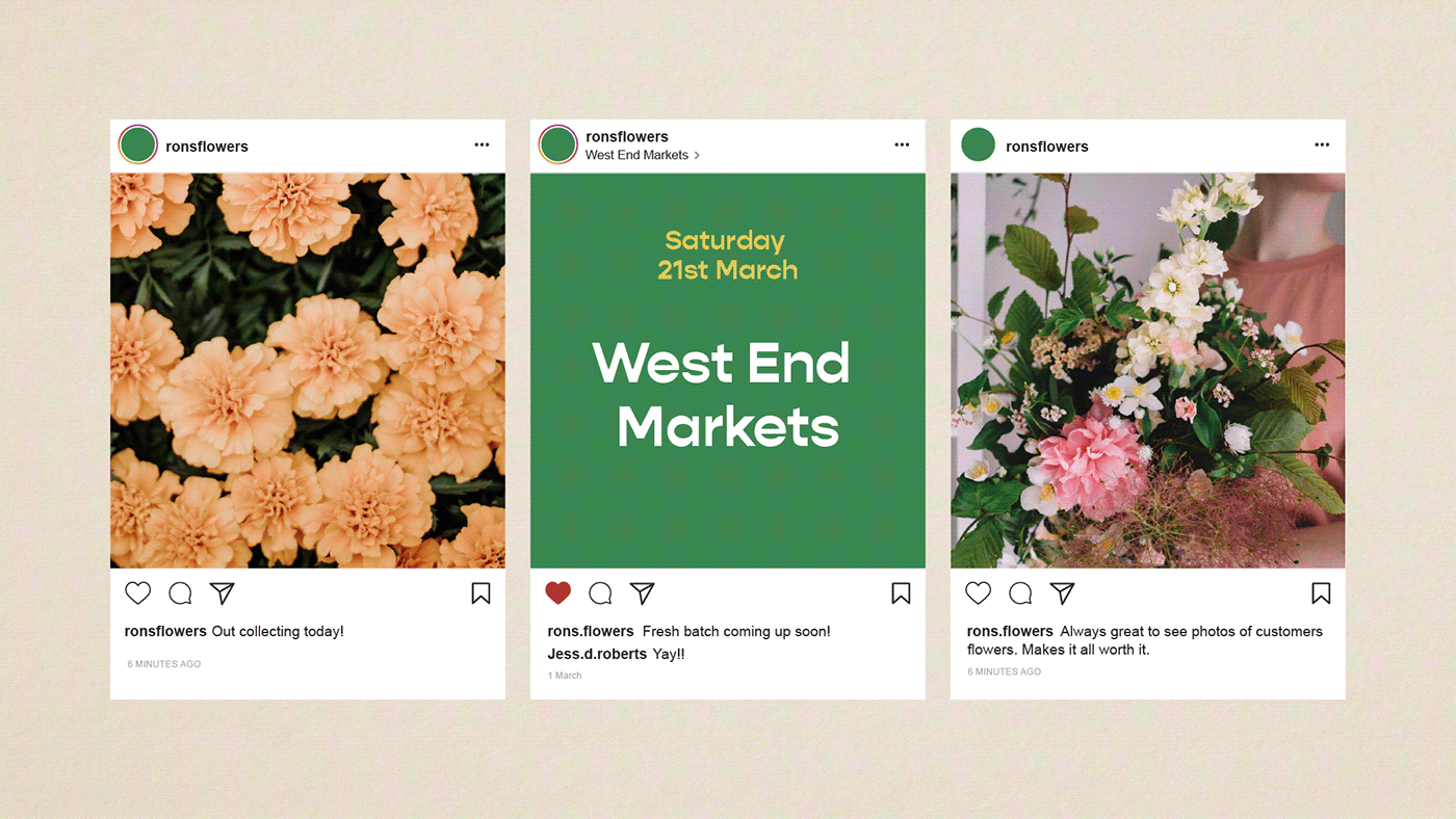 botanical branding  florist flower green hand crafted hand made identity markets mobile business
