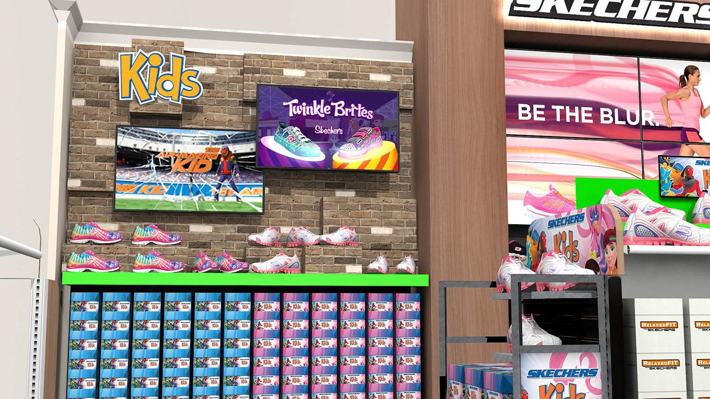Sketchers store interior design  footwear visualization lighting concept development Store Within Store