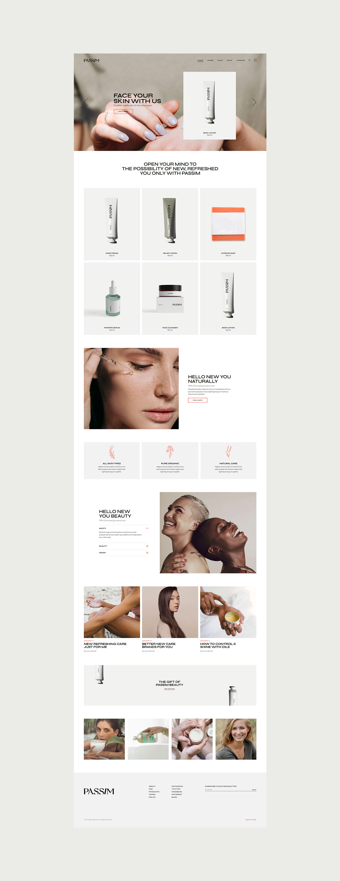 beauty beauty product clean cosmetics design modern natural products skincare Webdesign