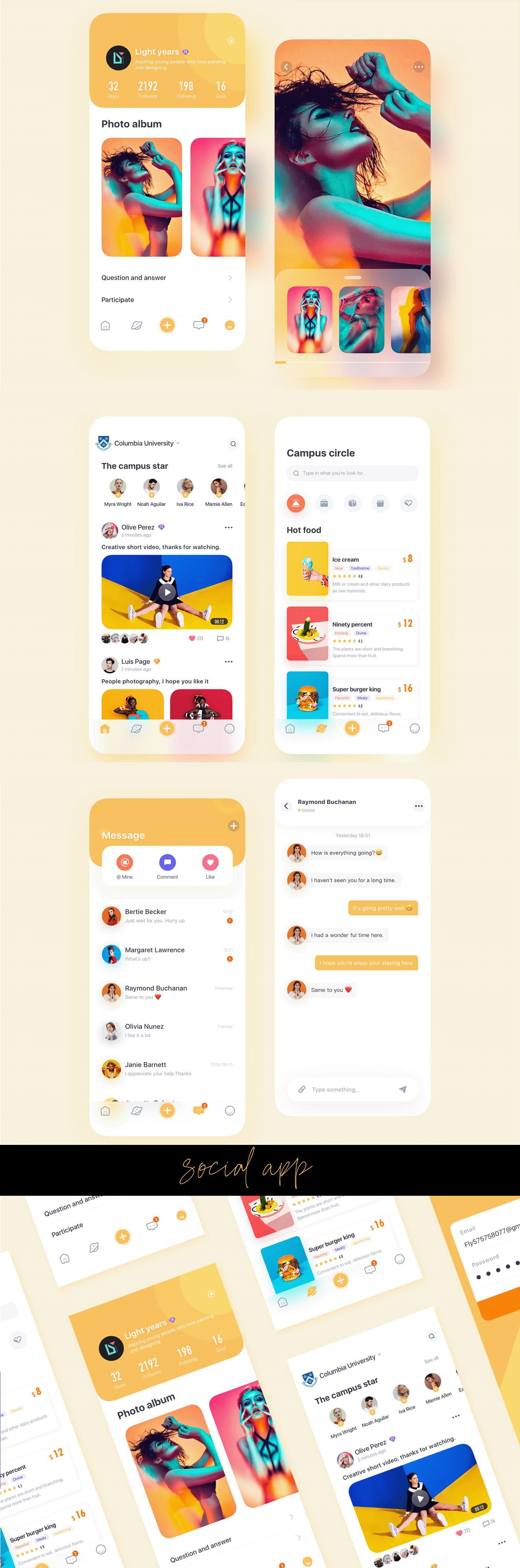 soical Chat UI ux design ui design app ui apps typography