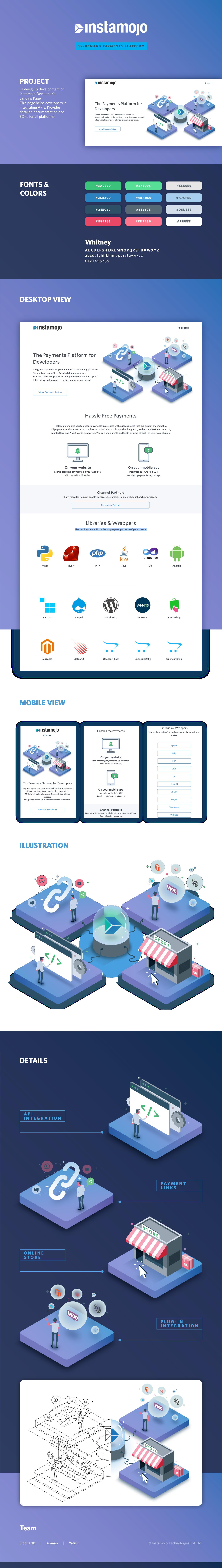 instamojo developer Isometric landing page India page design app payment money api