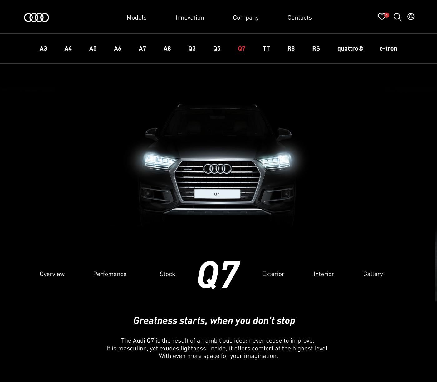 Audi Website Concept Web Design  UI ux
