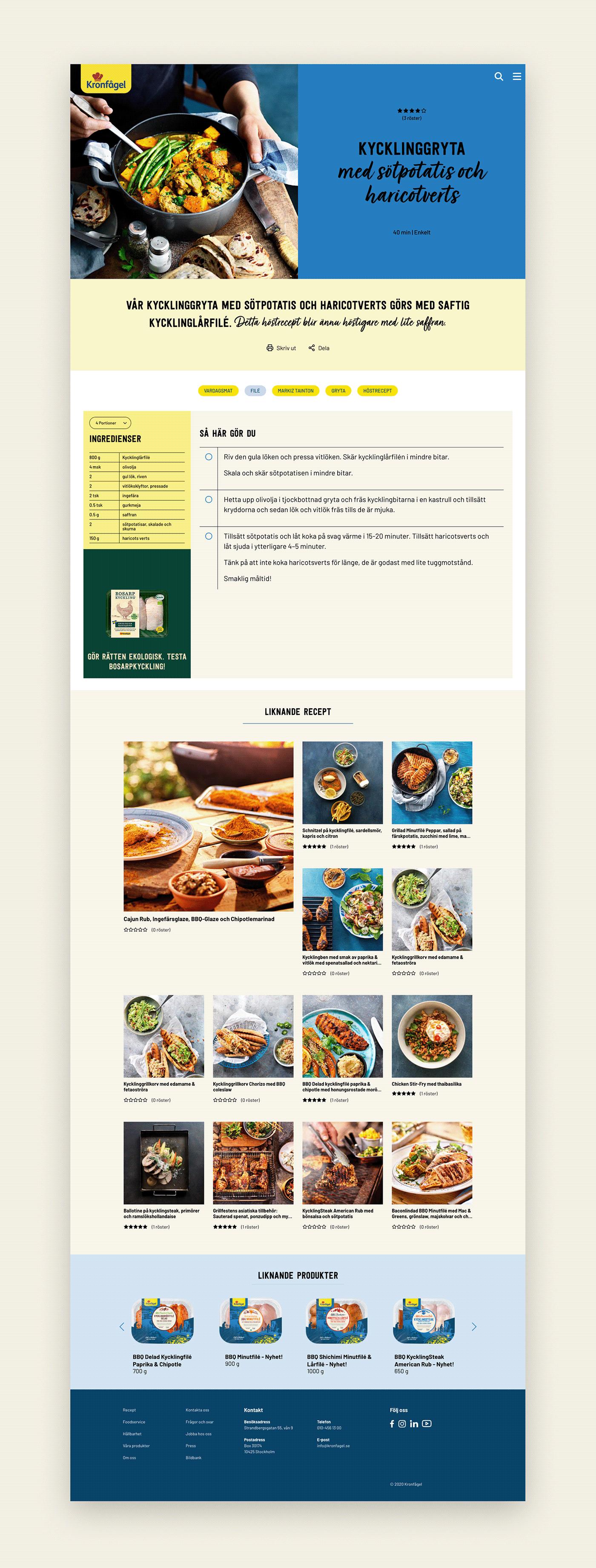 digital Food  Kronfågel mobile recipes sunnyatsea UI ux Web