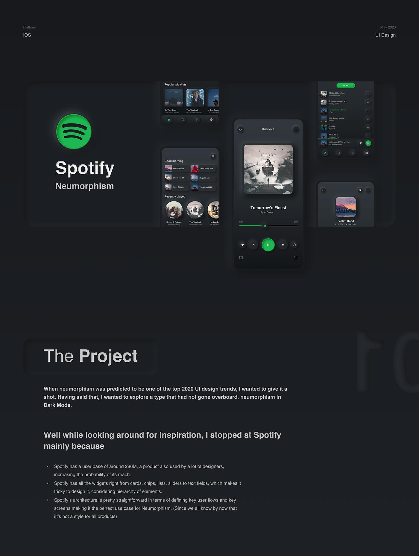dark mode dark ui interaction music app Music Player neumorphic neumorphism trend 2020 soft ui spotify