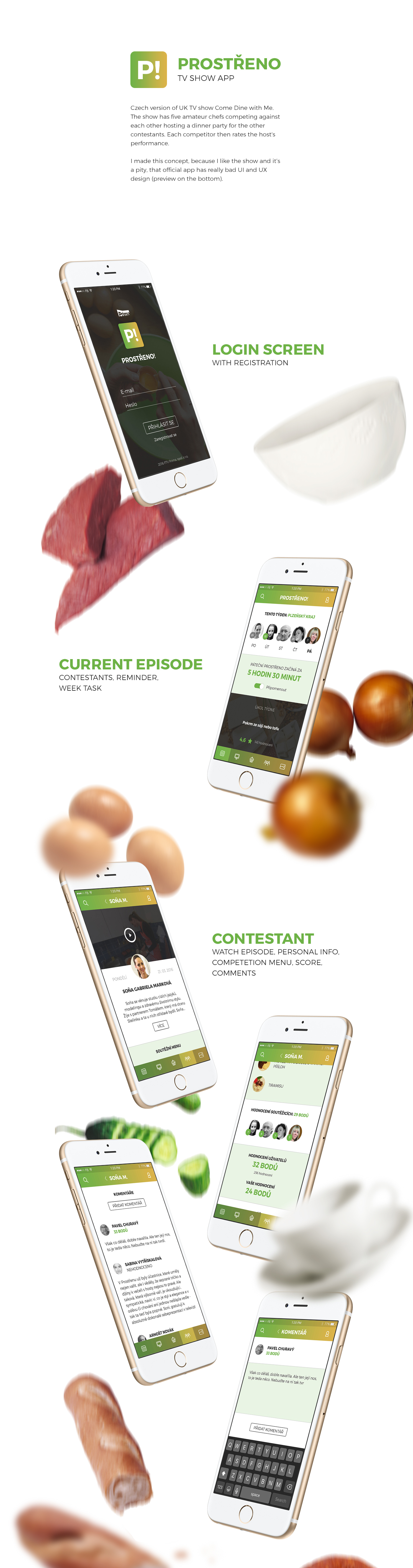 Prostřeno cooking tv Show app ios Food  Czech redesign concept prima eat clear simple contest