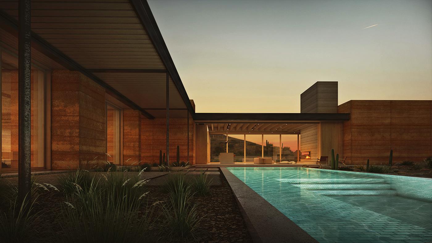architecture arizona desert design modern Render rendering SketchUP visualization vray