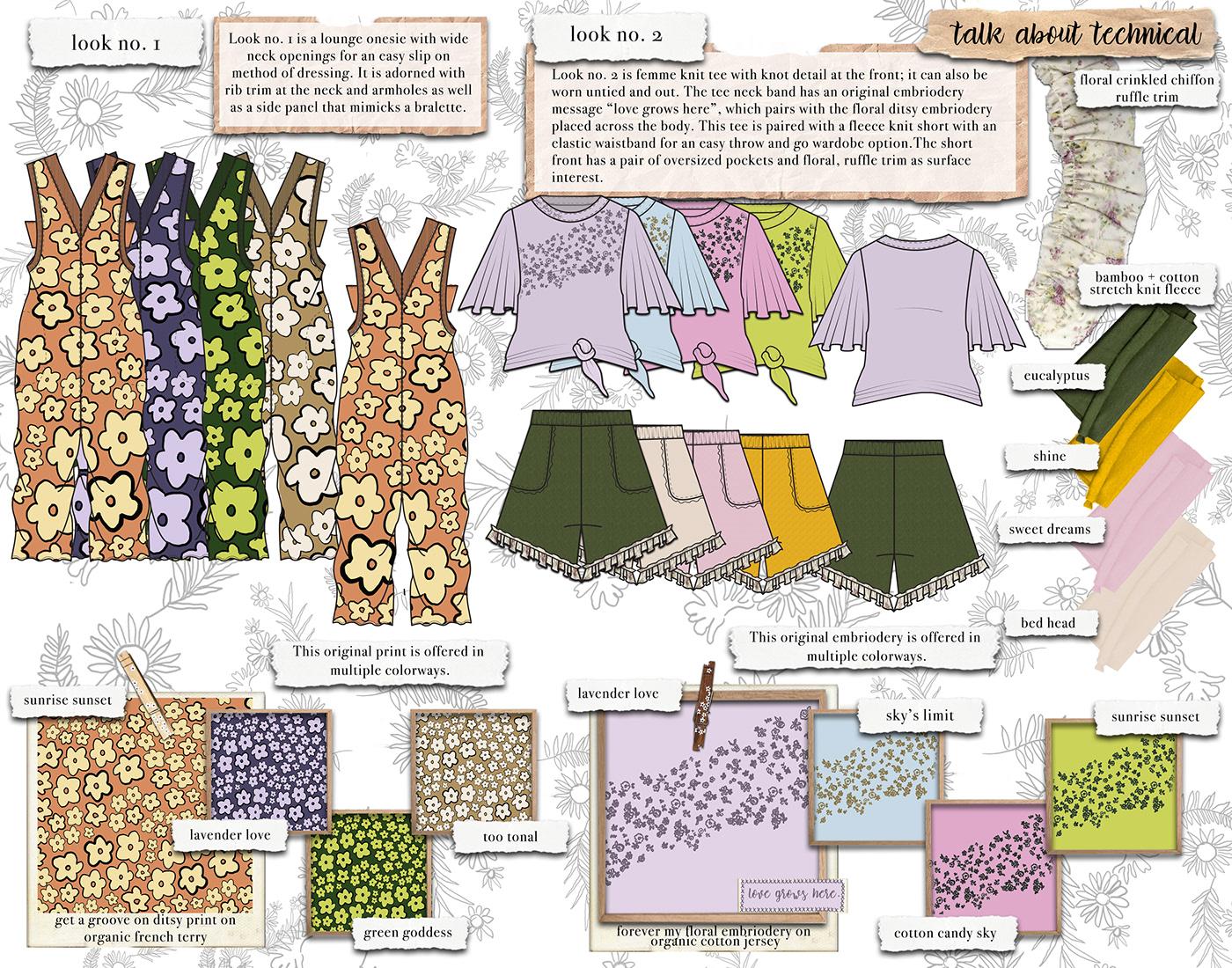concept development Fabric sourcing  Fashion  fashion design fashion illustration loungewear print design  surface design Technical Design womenswear