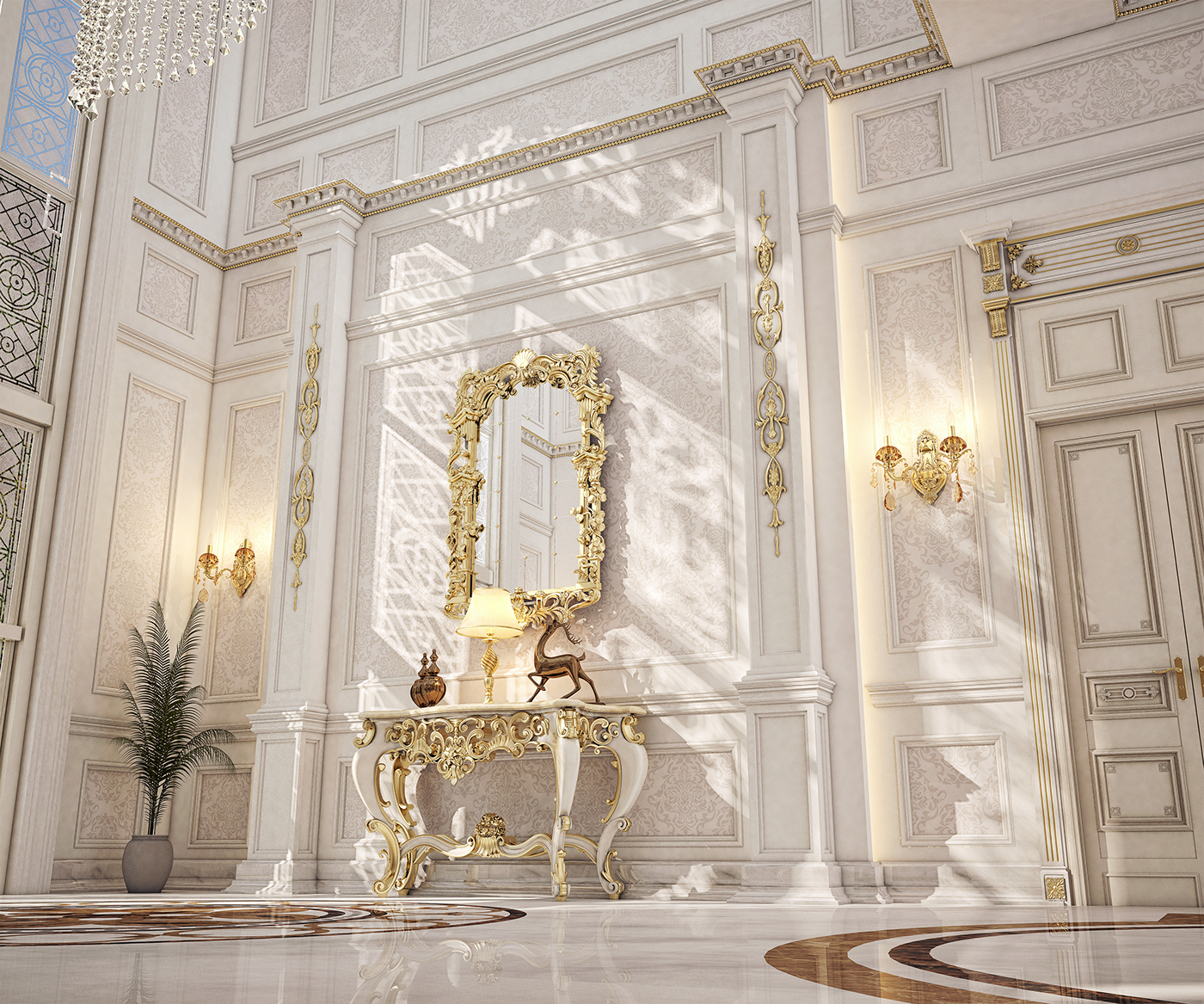 Qatar Luxury Homes: Main Entrance Hall Design For A Private Villa At Doha On
