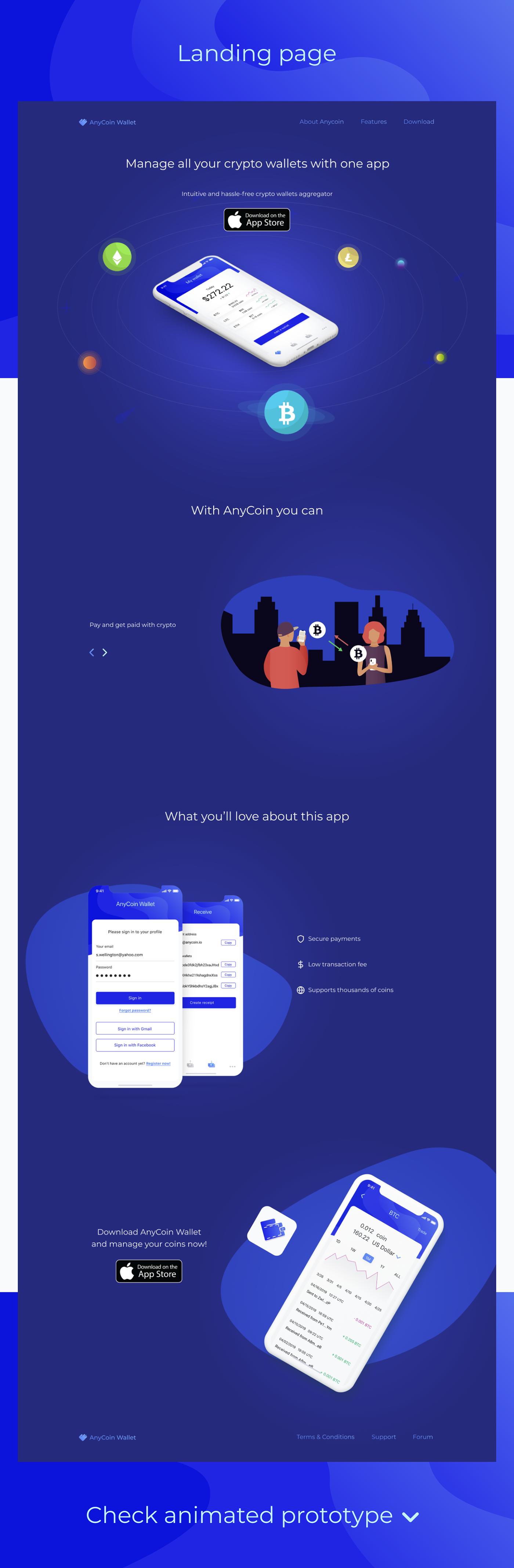 crypto bitcoin WALLET Fintech coin ios Mobile app landing page