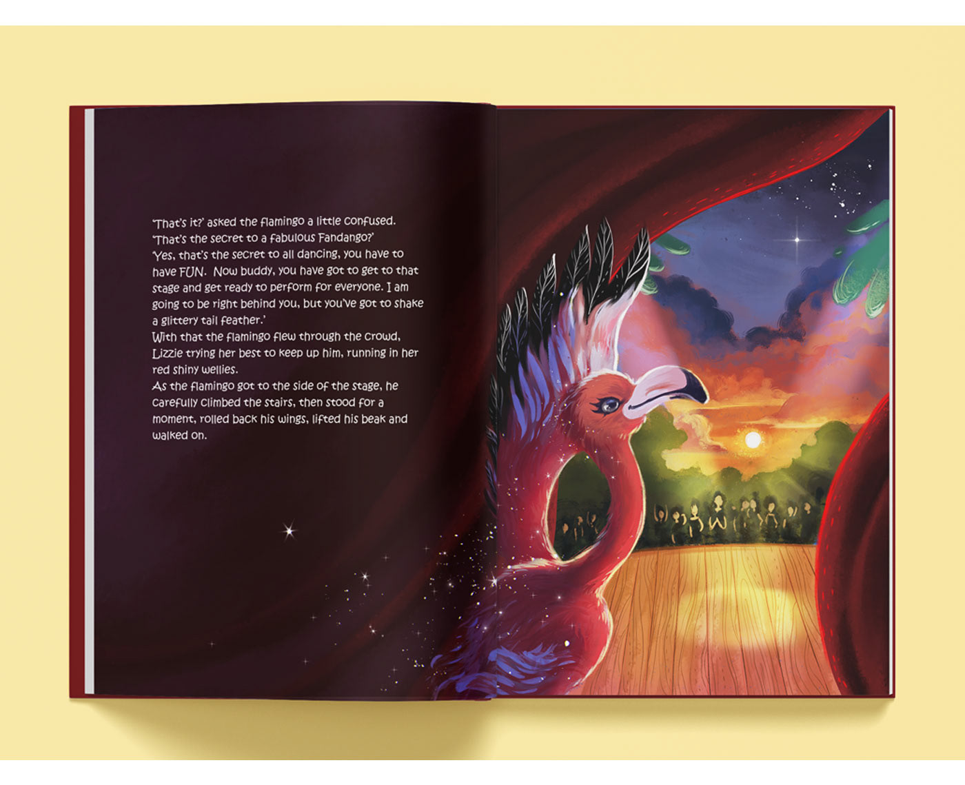 animal book cartoon children fairy flamingo forest ILLUSTRATION  kid Nature