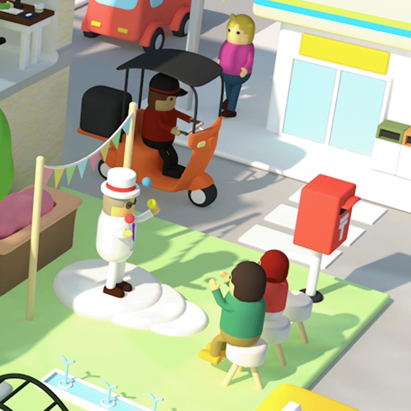 cinema4d c4d ILLUSTRATION  design Character digitalart town city 3dcg 3dart