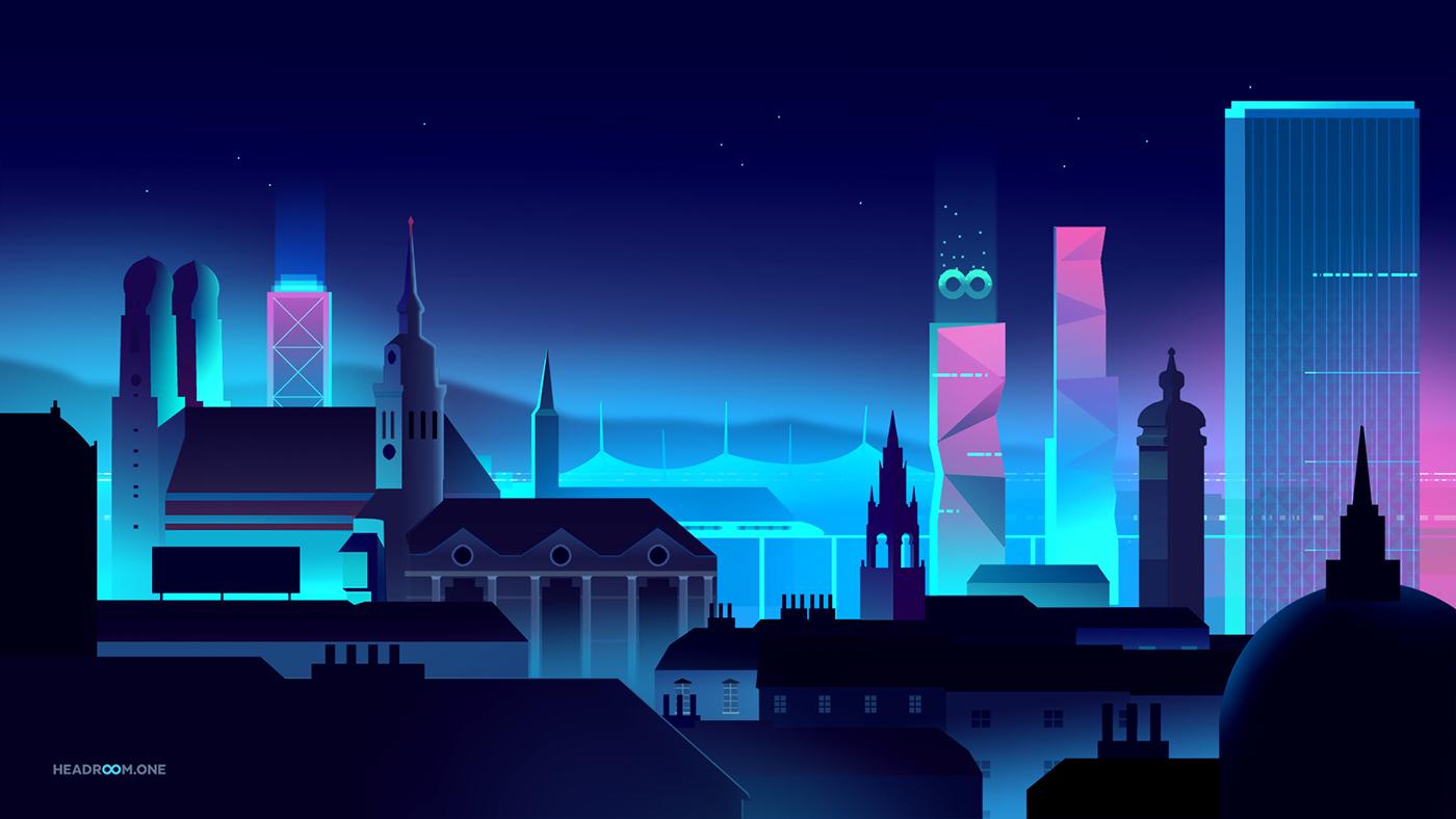 city skyline neon future Data Technology security light night editorial