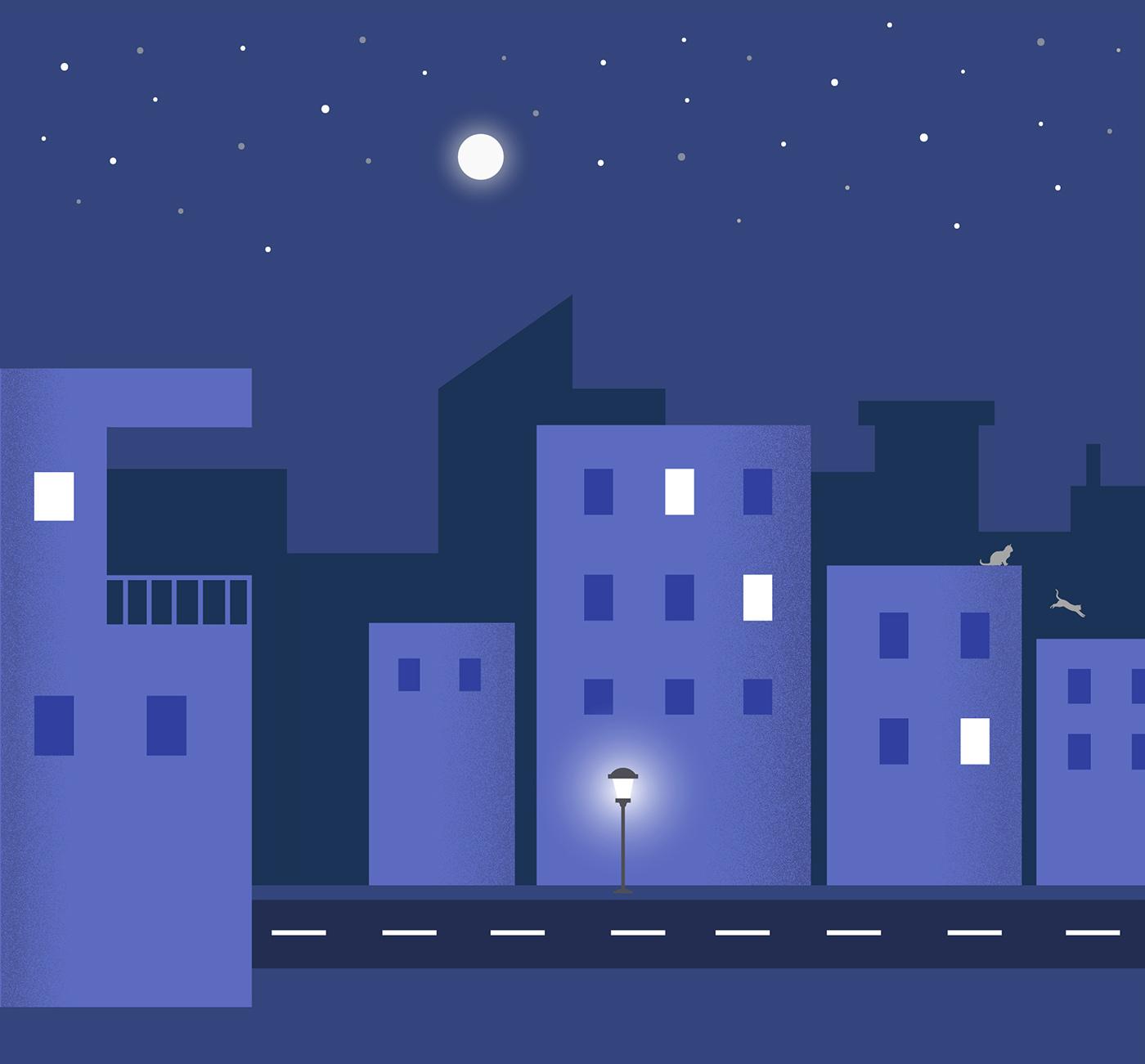 material design Night Scene ILLUSTRATION  Illustrator material calendar