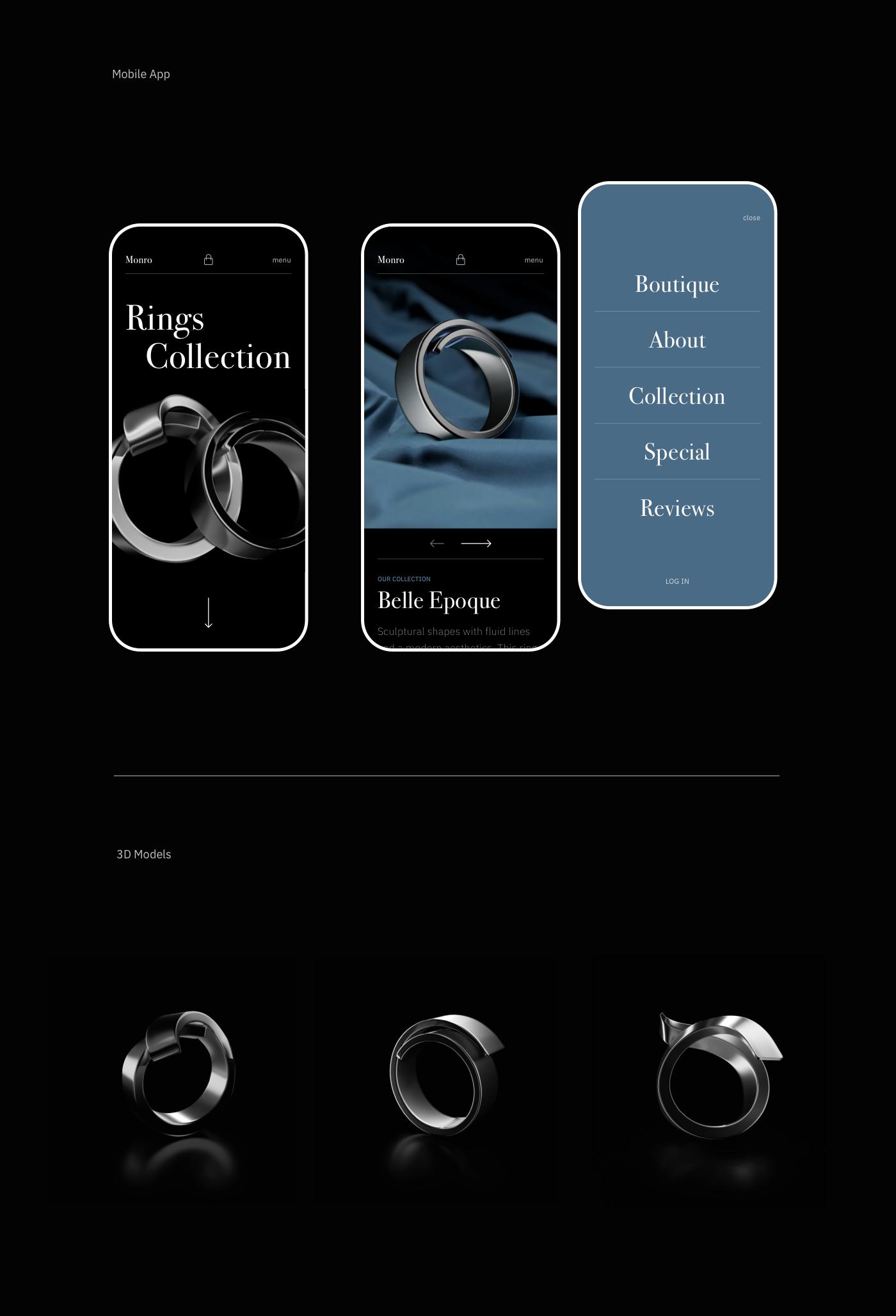 3d modeling brands e-commerce Fashion  jewelry landing page motion design responsive screen UI/UX Web Design