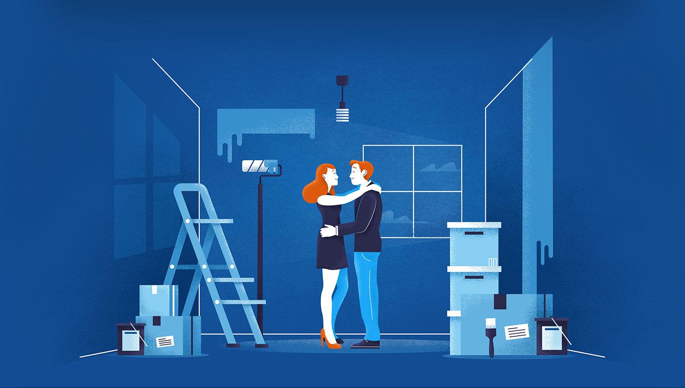 Bank refinance loan renovation family card kitchen home paint