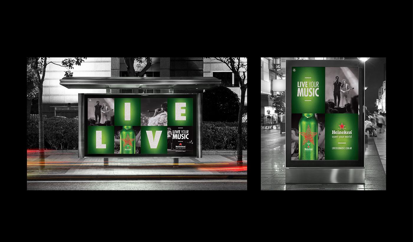 beer heineken Web design Packaging star music festival liveyourmusic branding