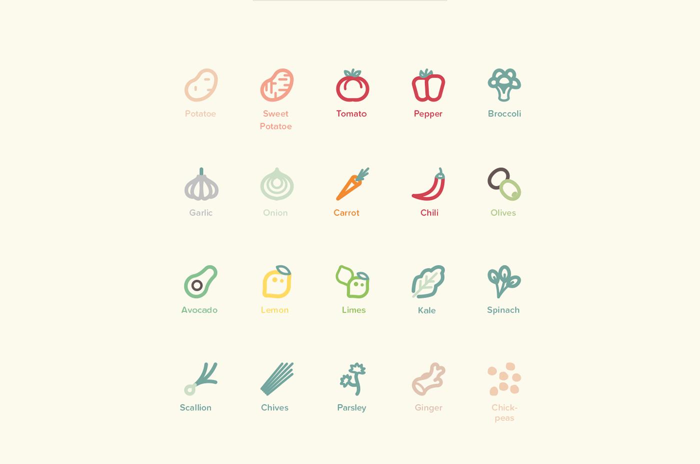 Icon cook editorial vegetables vegan iconography Typographie typo symbole mathematics Roland Lehle vector illustrations scribbles Ps25Under25