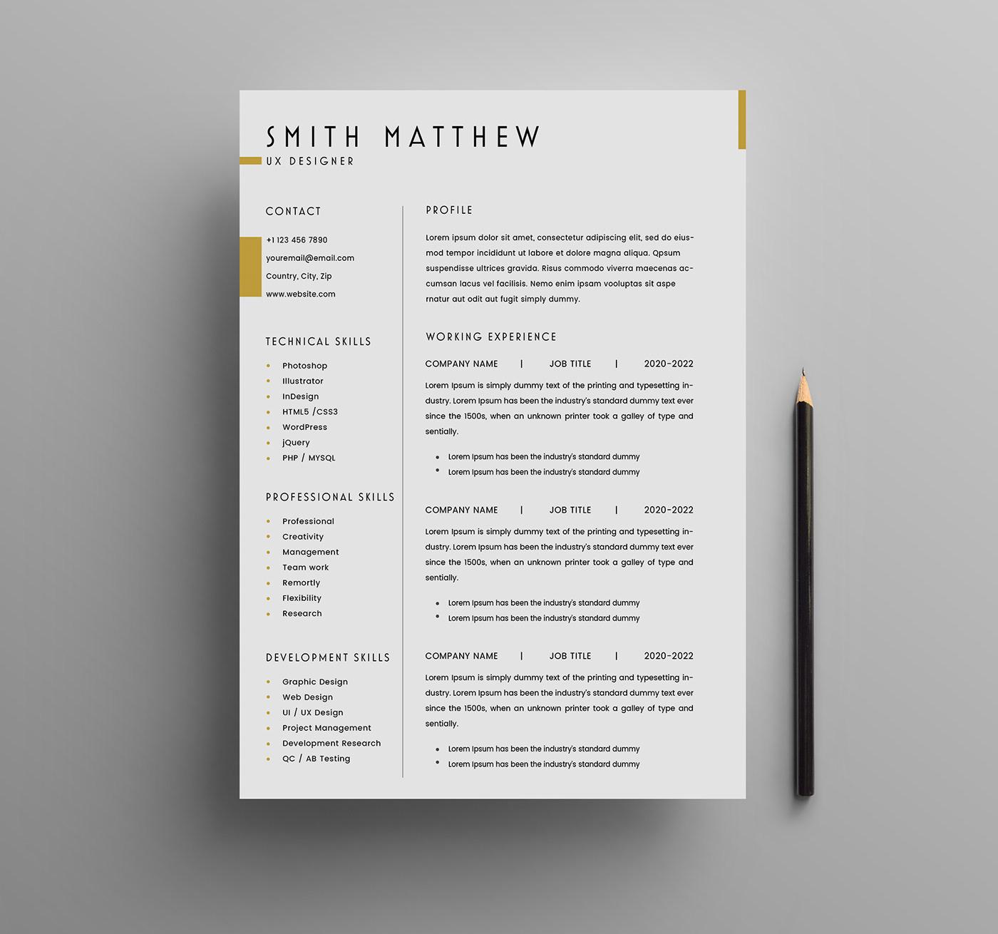 Clean Design CV Resume download resume Free Resume free resume template freebie resume design simple design