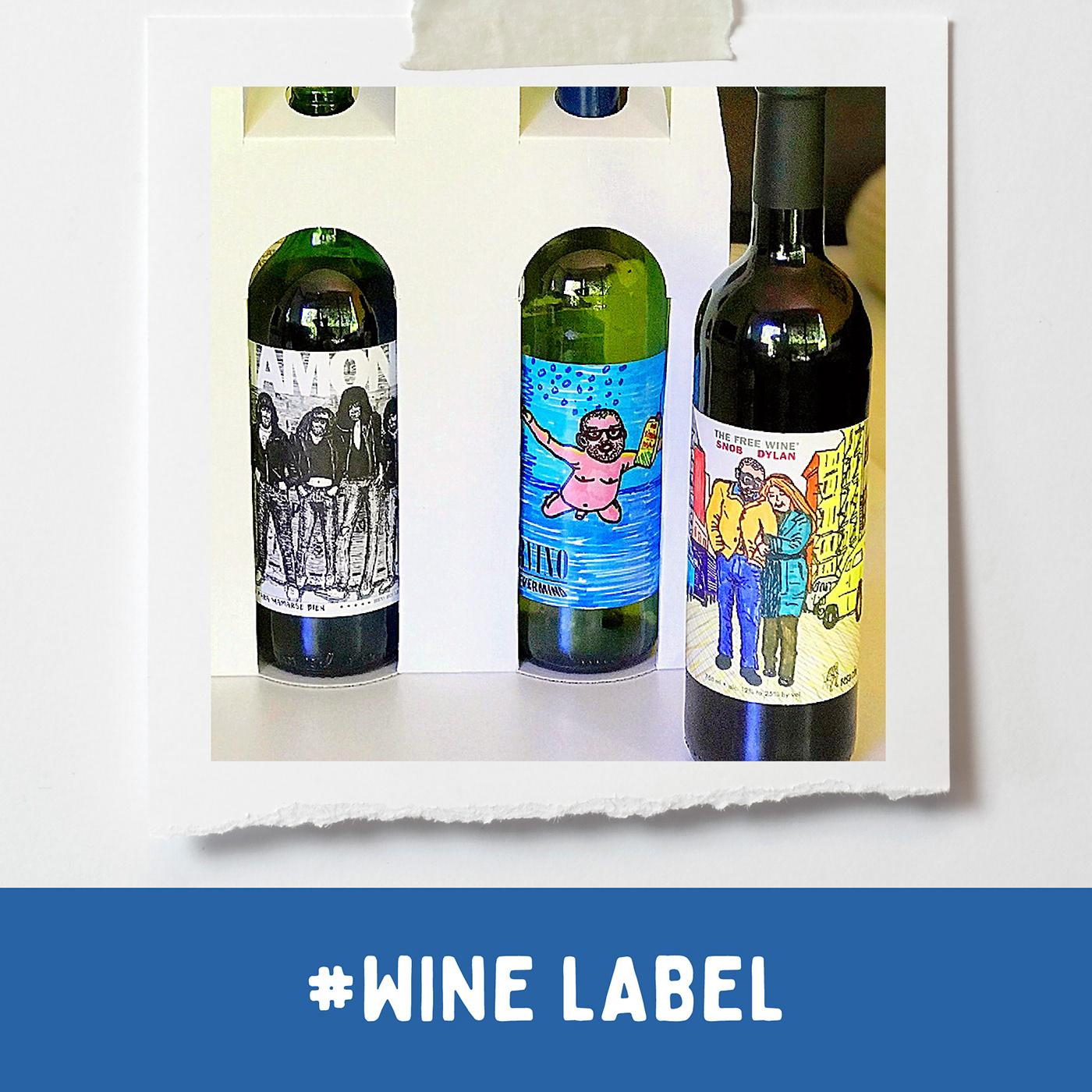 Product label / wine drawn label / MAMONES - NIRVINO / SNOB DYLAN