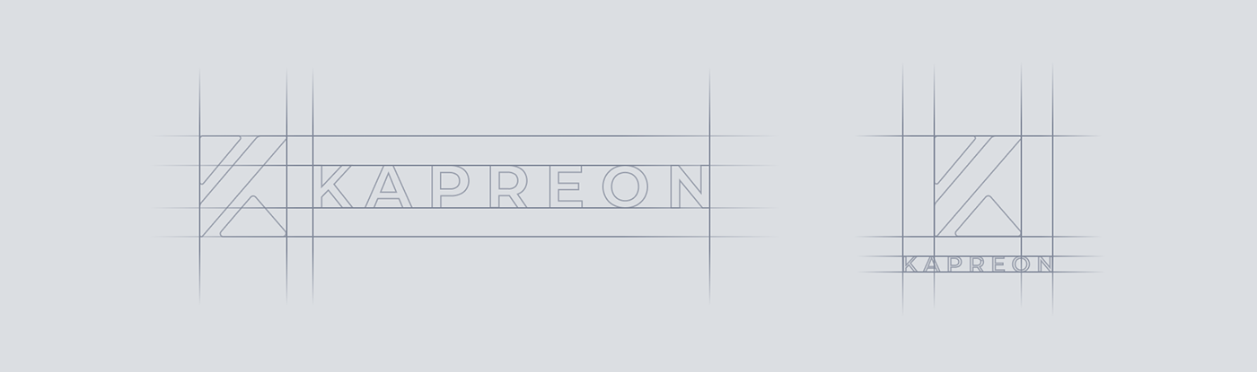 Kapreon logo alignement demonstration.