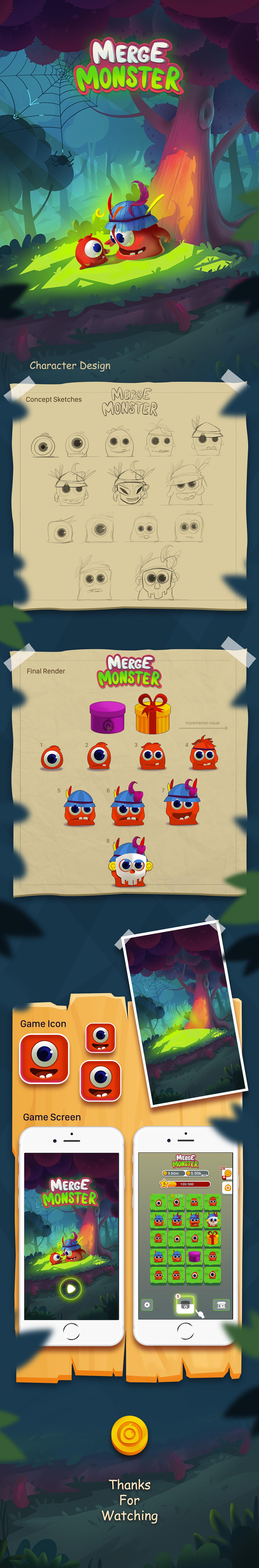 game design  ui design Game Art merge monster concept art ILLUSTRATION  2D art mobile games UI/UX