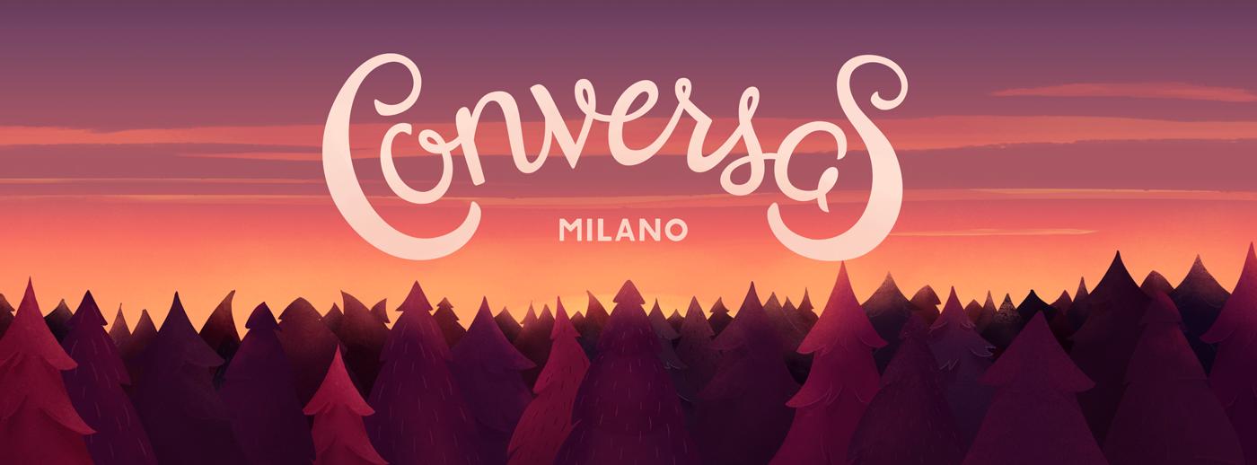 conversas milano talk meeting Event poster lettering Bonfire fire hangout woods sunset type HAND LETTERING papaya