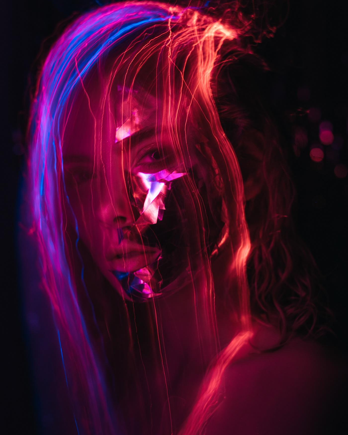 beauty beauty editorial beauty photography color light creative Fashion  neon portrait