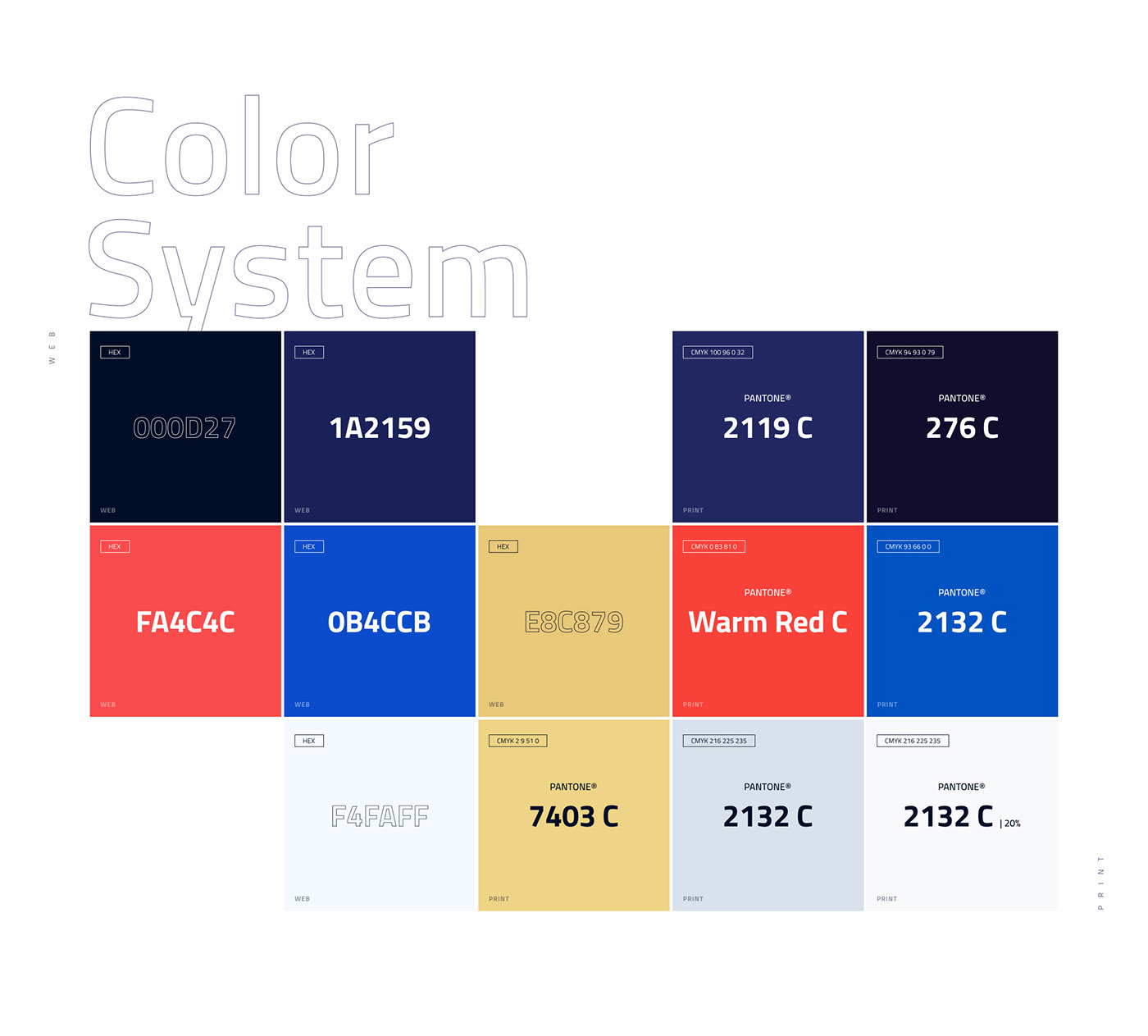 Color system and palette for meritage brand identity web and print surfaces
