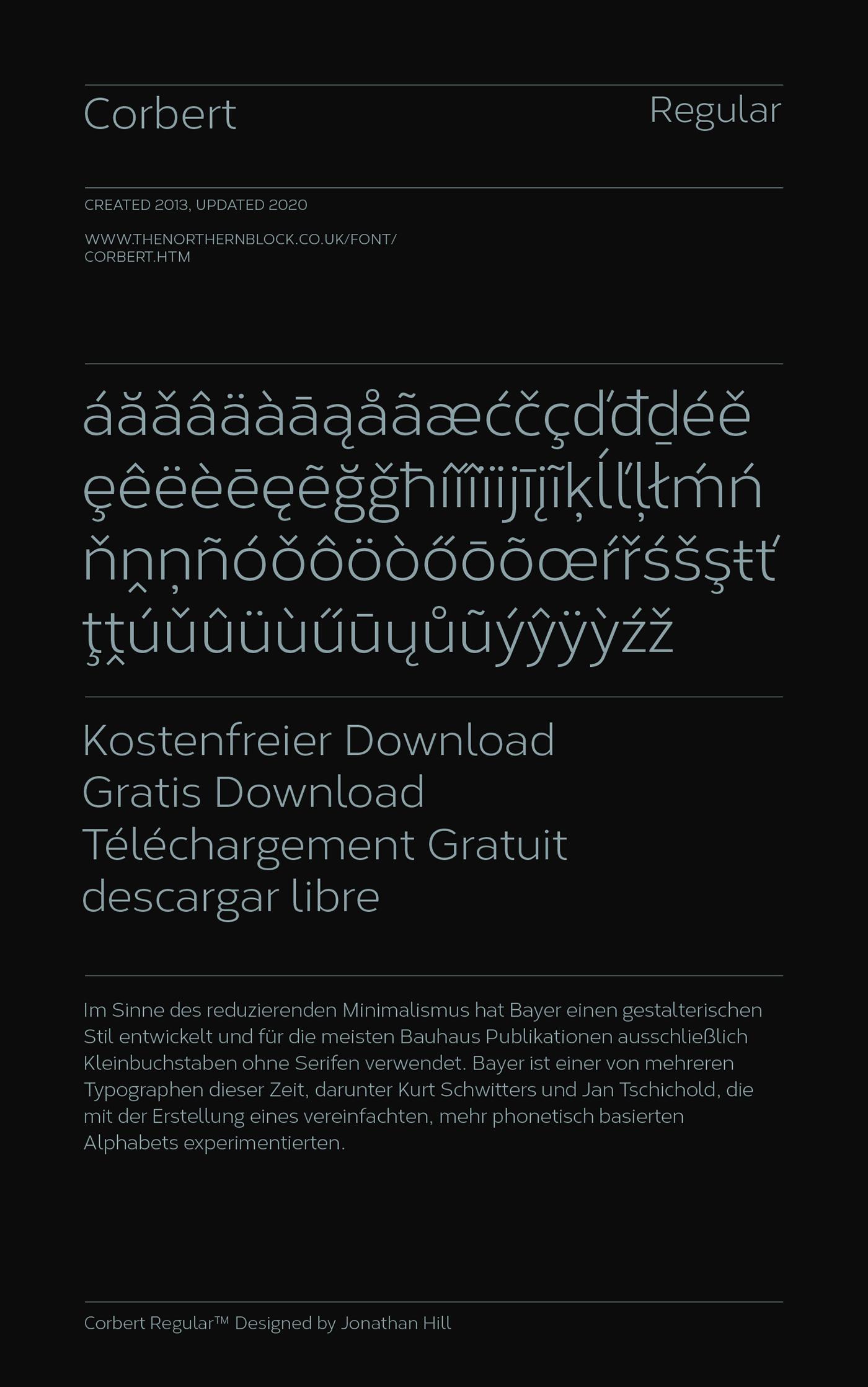 Corbert Free font type sans serif bauhaus avenir Futura font geometric sans The Northern Block