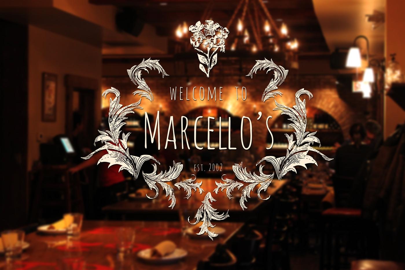 "restaurant logo and menu ""marcello's"" on behance"