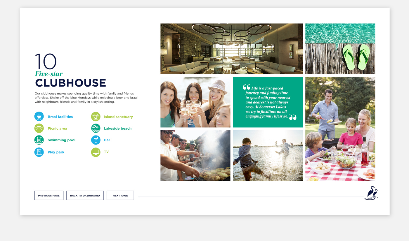 Interactive Experience graphic design  property design presentation Investec somerset lakes