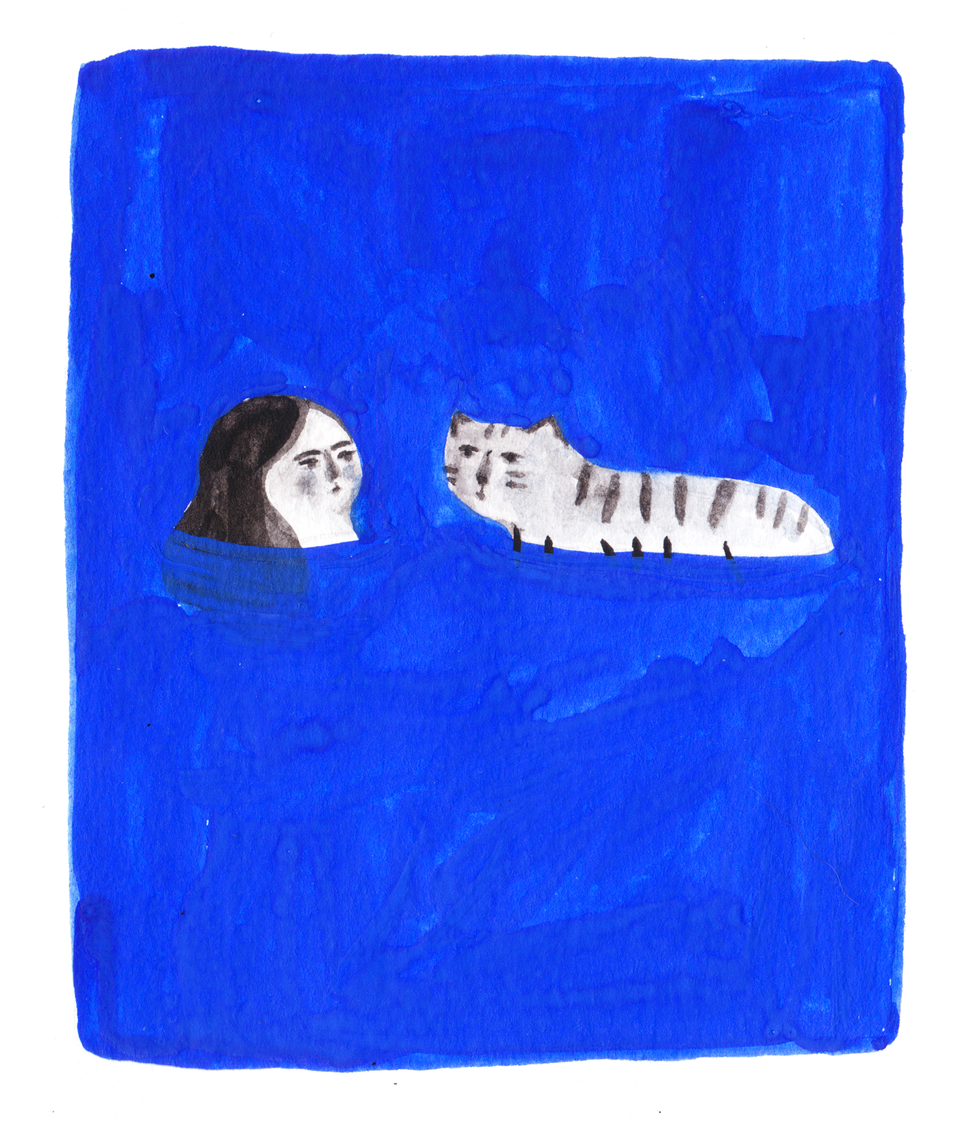 ILLUSTRATION  blue painting   Love water sea tiger story sketchbook UQAM