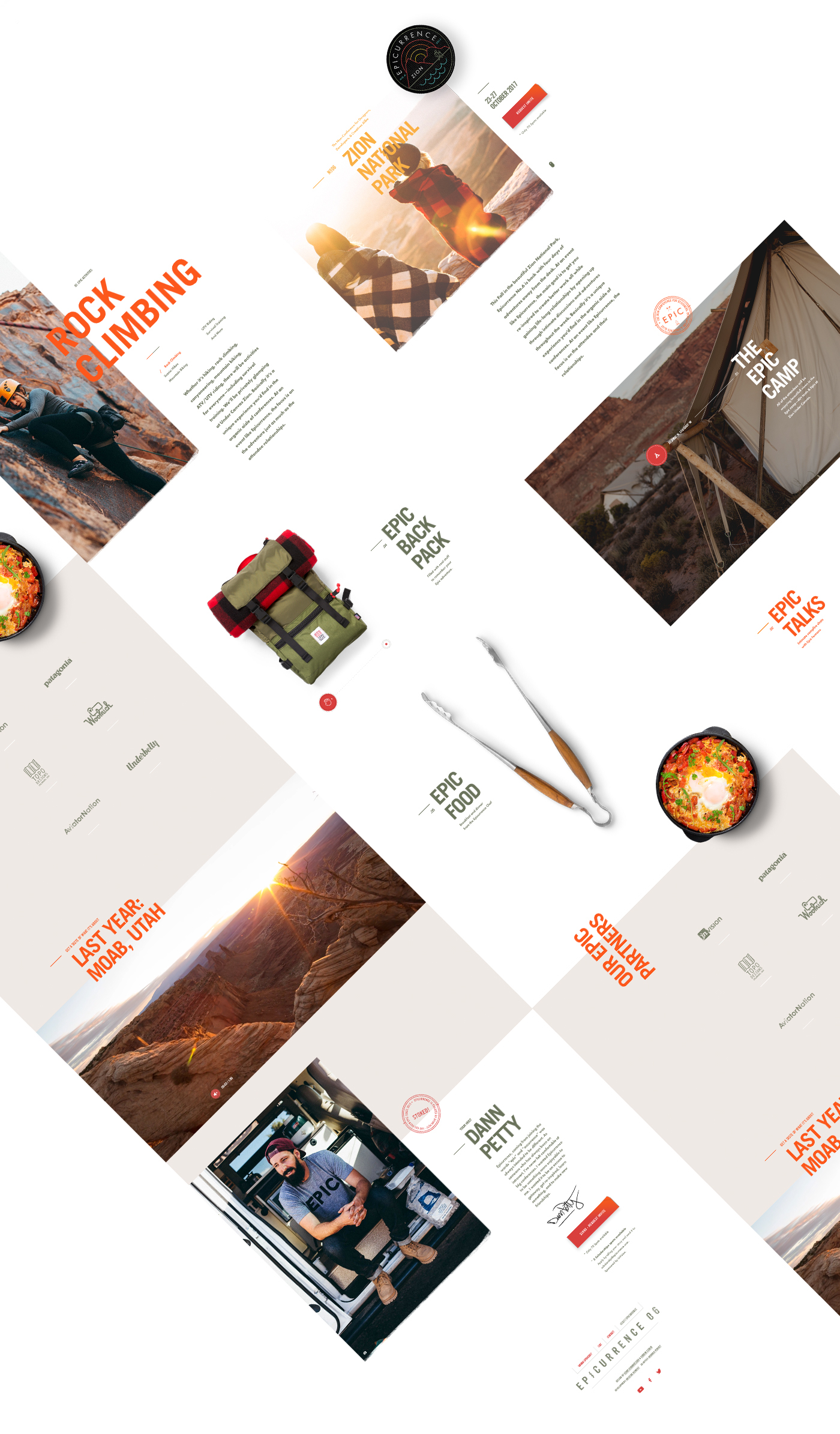 Epicurrence Event conference adventure camping paralax One Page badge