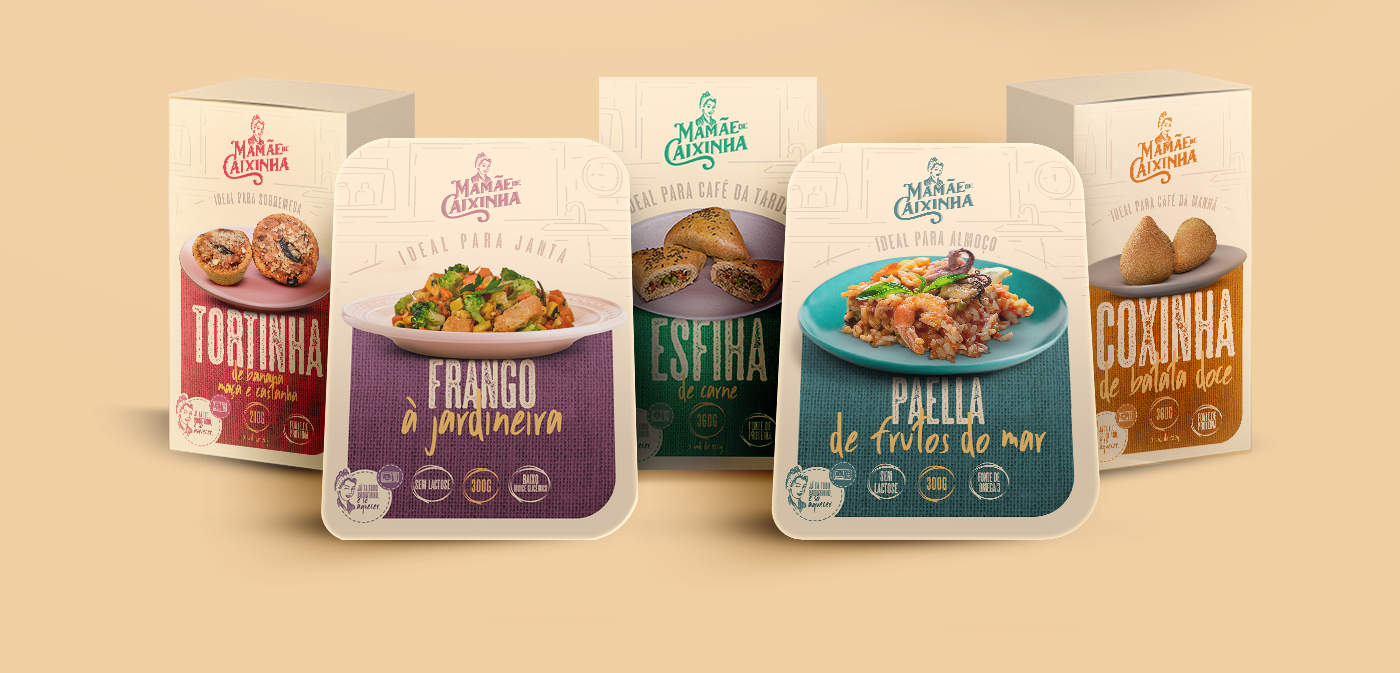 identidade visual MAMÃE DE CAIXINHA comida design marca embalagem logo health food emporia branding packing