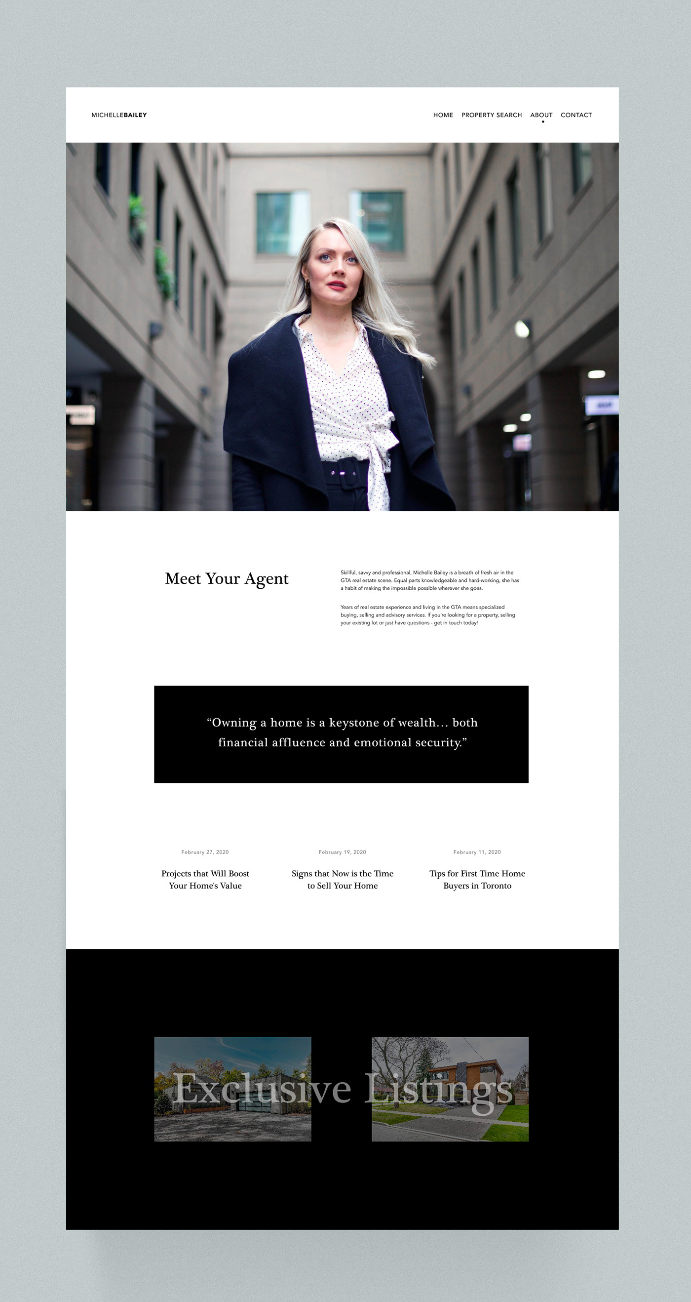 invision studio landing page minimal property real estate real estate agent UI Web Web Design  Website