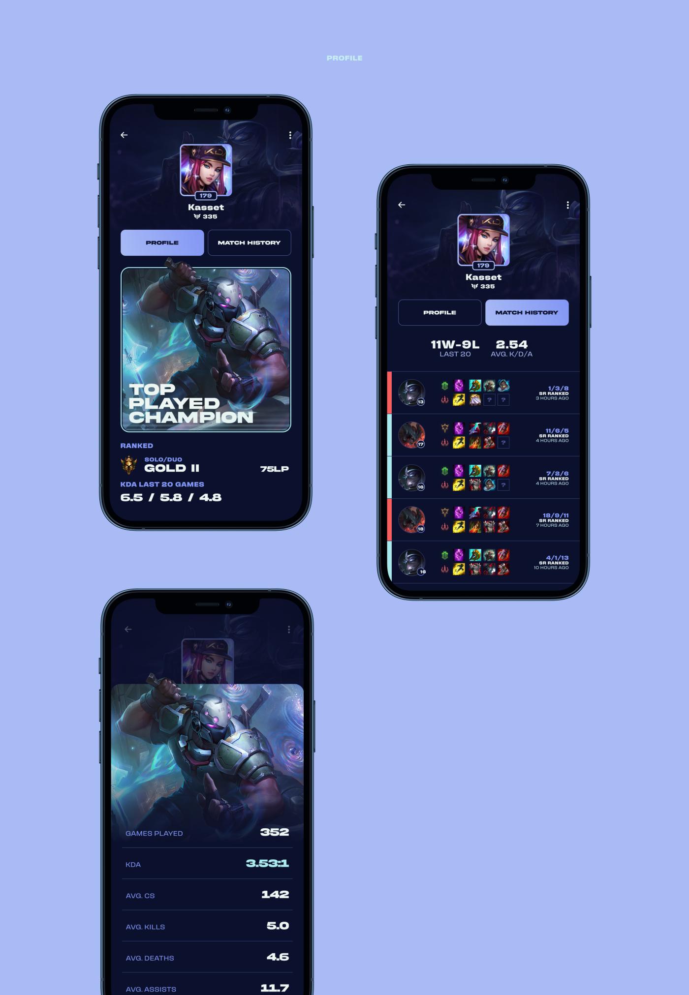 app esports Gaming Interface league of legends lol UI ui design UI/UX ux