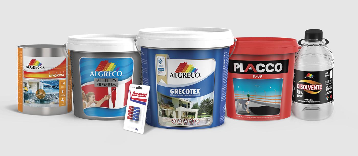 modeling 3D packing empaques algreco pintura