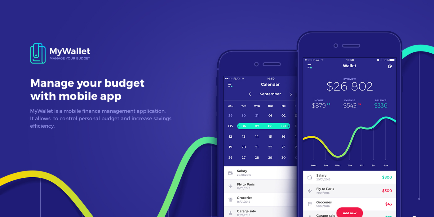 MyWallet WALLET finance management mobile application app financial money Budget track iphone ios chart statistics