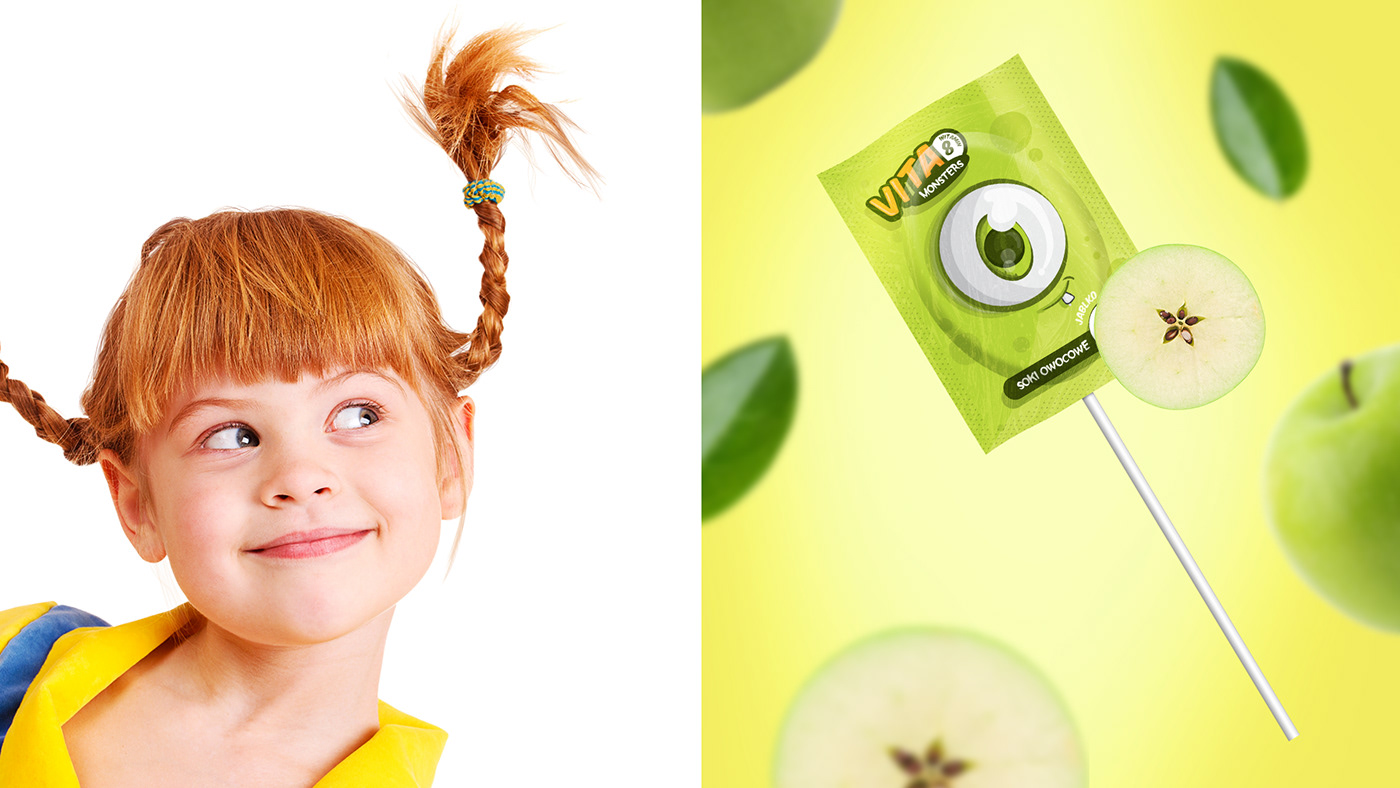 sweet monsters monster funny ILLUSTRATION  package Label fruits faces colorful