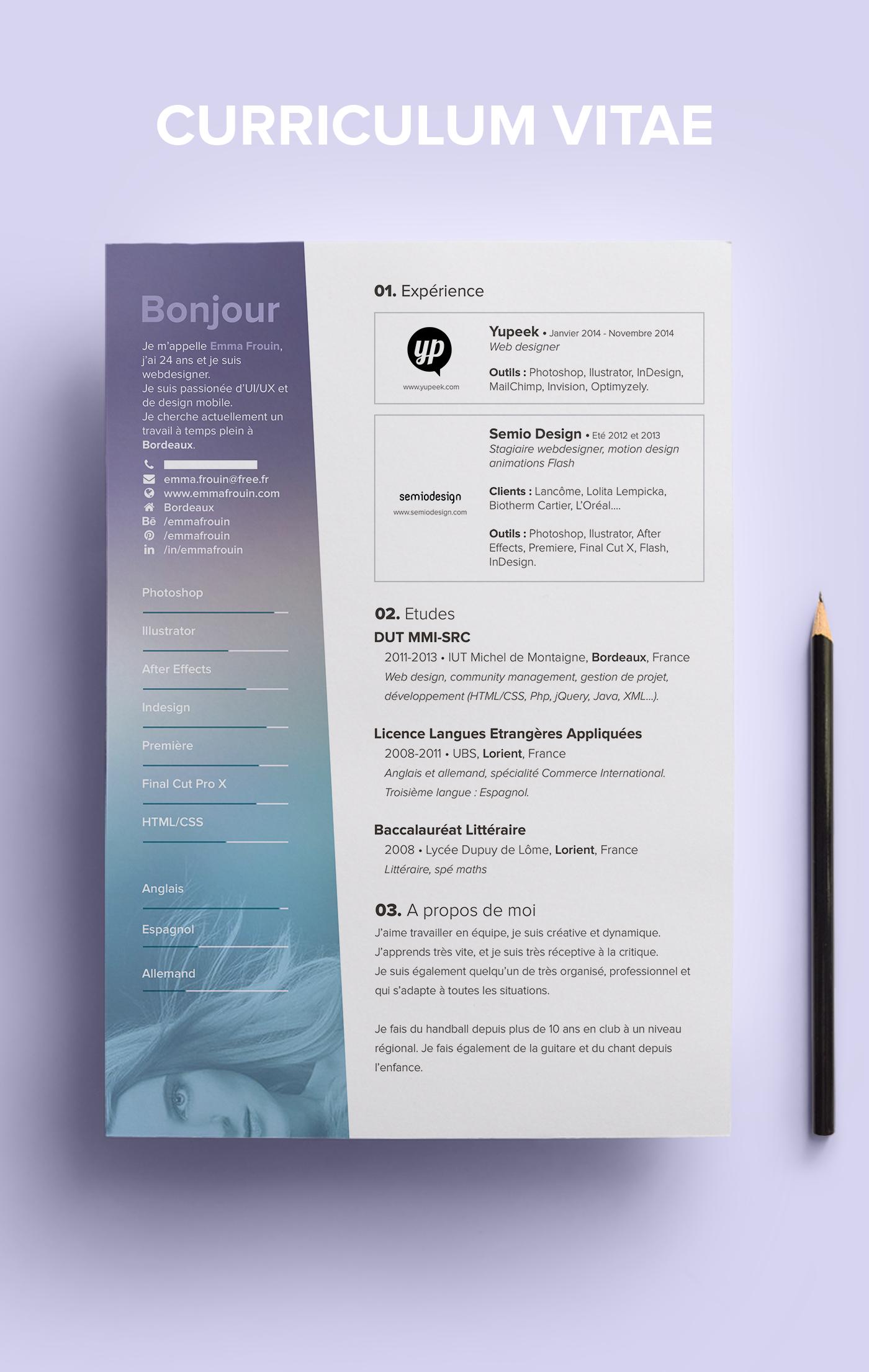CV Resume Webdesign webdesigner Work  job Bordeaux