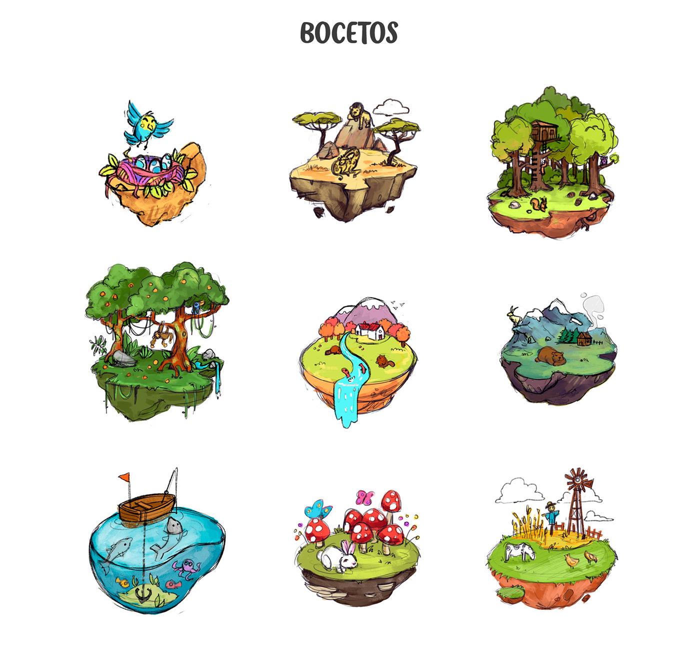 ecosistema ilustracion infantil animales Escuela Infantil decoracion vinilo