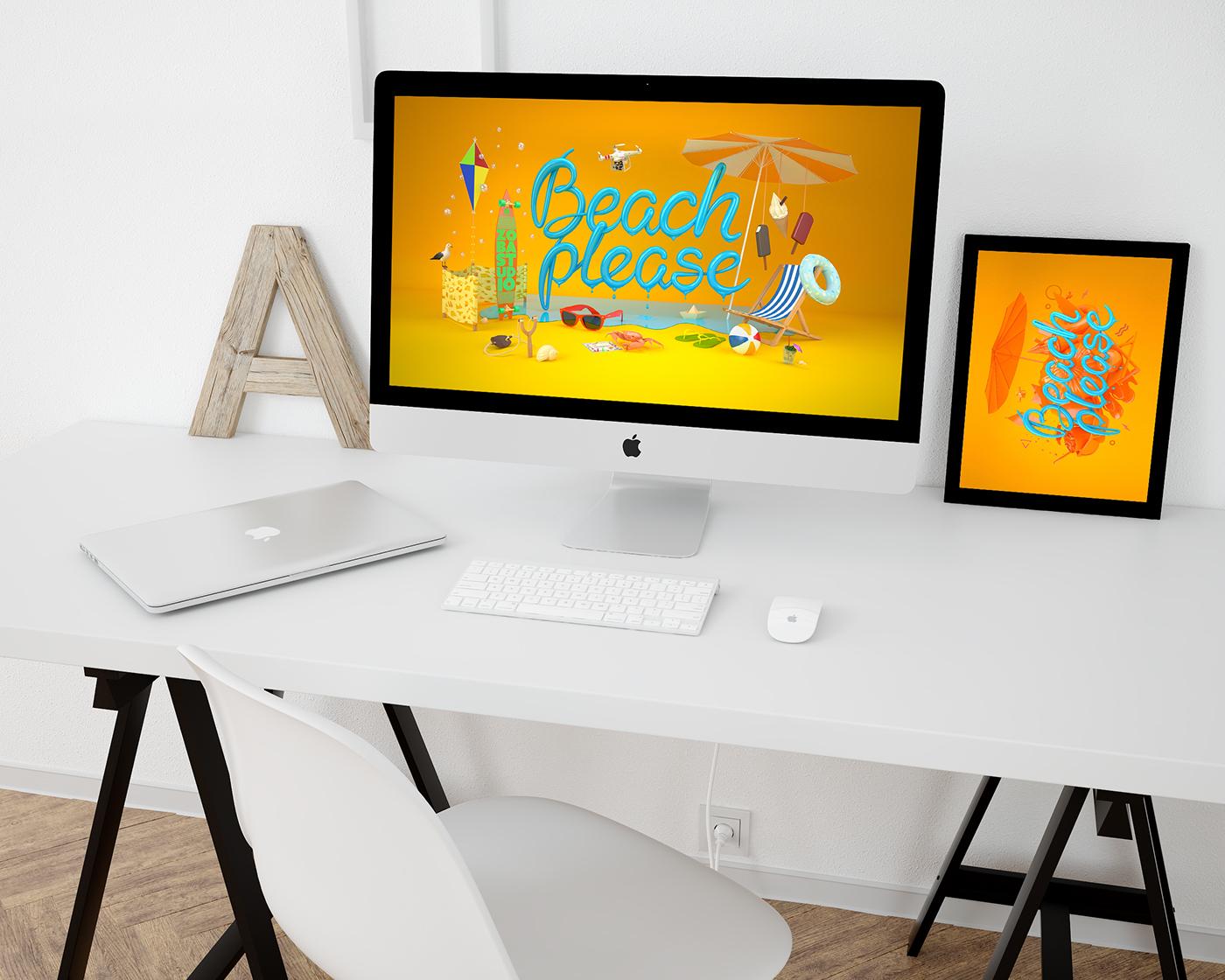 beach please BeachPlease bartosz morawski zobastudio bartoszmorawski zoba studio 3D set design key visual poster warm colorful color