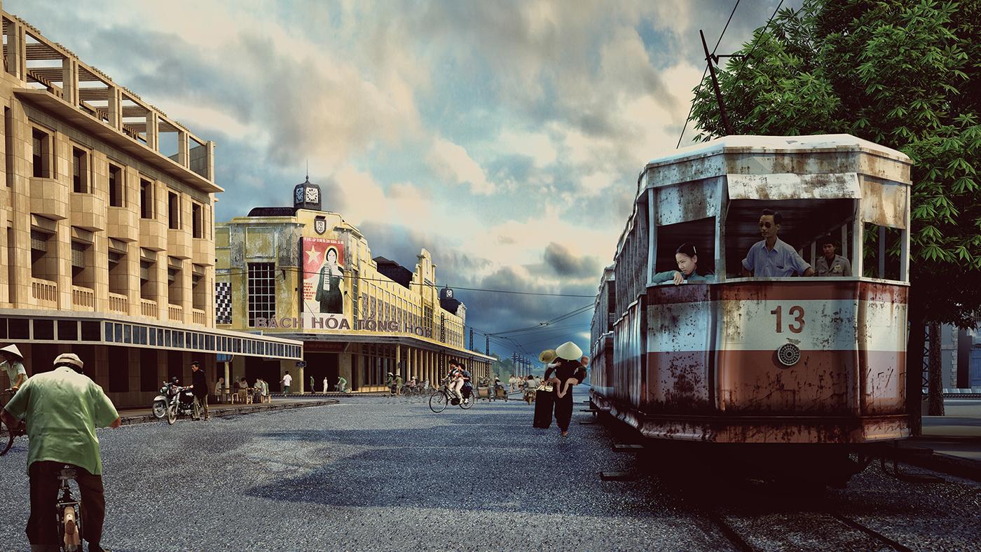 tramway hanoi Ancient Render 3dsmax Exhibition  visualization