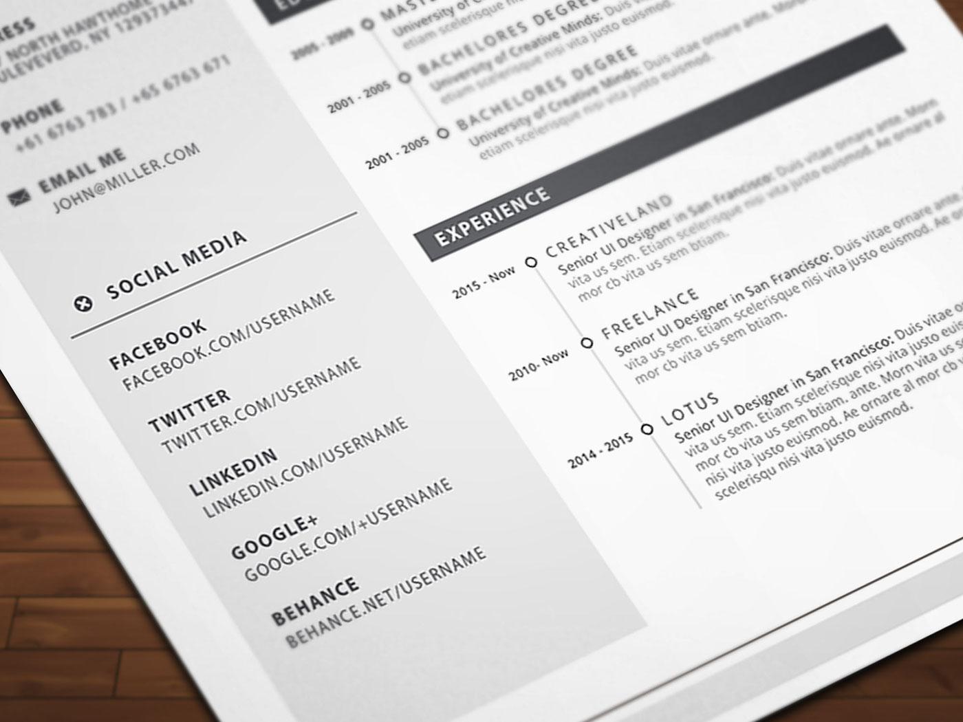 free ms word resume on behance